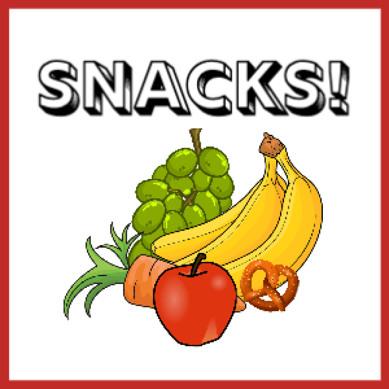 fruits, vegetables and the word snacks